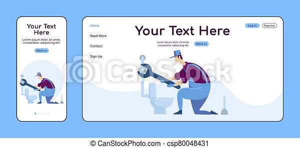 Plumbing services adaptive landing page flat color vector template. Plumber with toilet mobile and PC homepage layout. Repairman one page website UI. Home repairs webpage cross platform design - csp80048431