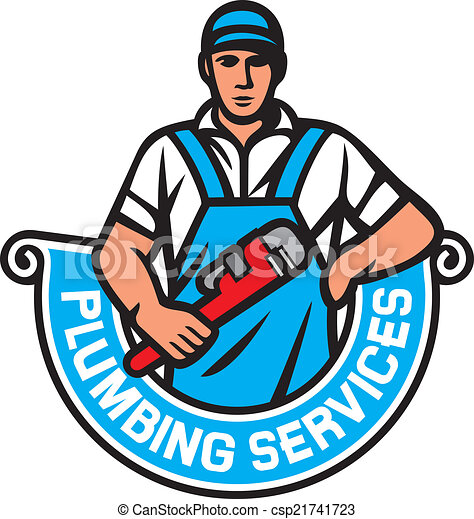 plumber holding a wrench plumbing services plumber vector rh canstockphoto com plumbing clip art free plumbing clipart free