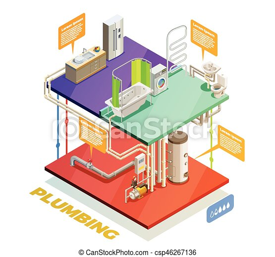 Plumbing Water Heating System Isometric View Plumbing Two Story