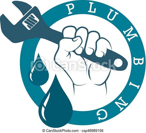plumbing wrench in hand plumbing plumbing in hand symbol clipart rh canstockphoto com plumbing clip art images for flyers plumbing clip art free