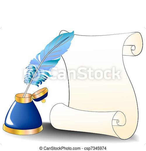 plume, encrier, message, rouleau - csp7345974