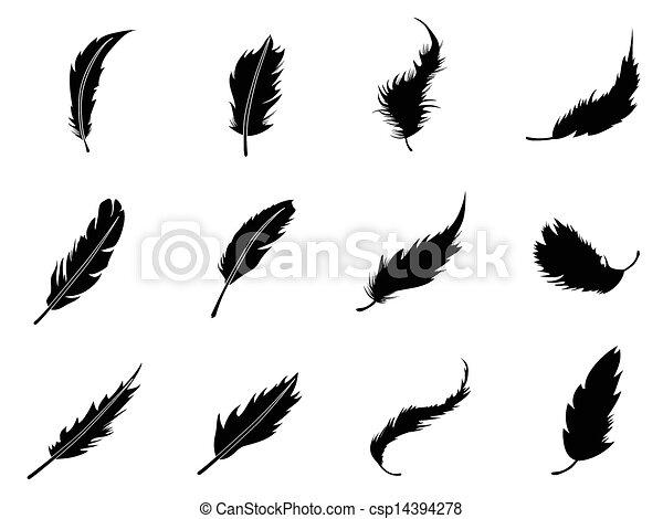 plume, ensemble, icônes - csp14394278