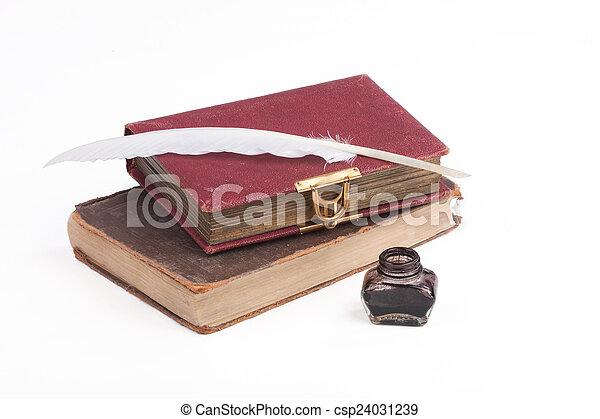 plume, livres, vieux, penne - csp24031239