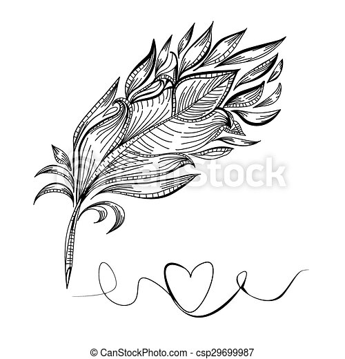 plume vecteur dessin ligne oiseau plume griffonnage vecteur search clip art. Black Bedroom Furniture Sets. Home Design Ideas