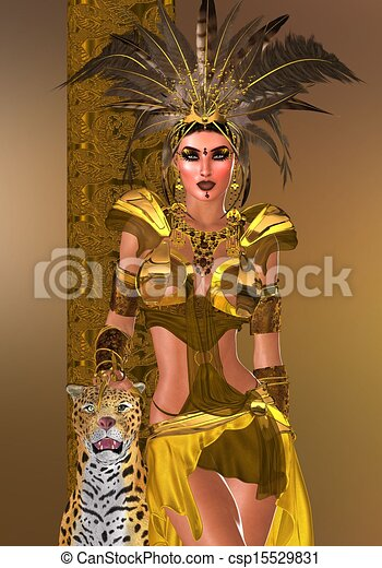 Plume Warrior Coiffure Beau Mode Puissance Or Leopard