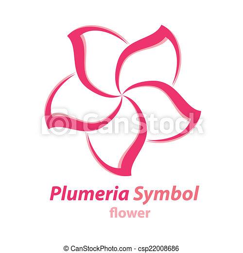 vector of plumeria frangipani flower symbol icon