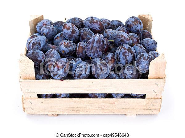 Plums (Prunus) in wooden crate - csp49546643