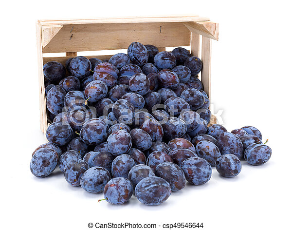 Plums (Prunus) in wooden crate - csp49546644