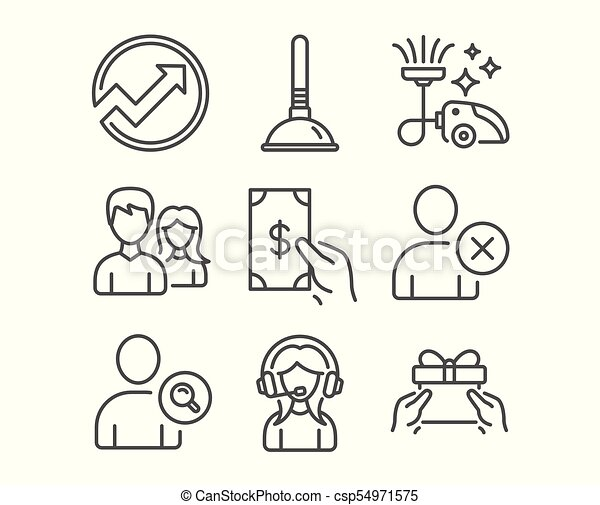 set of plunger delete user and vacuum cleaner icons receive money