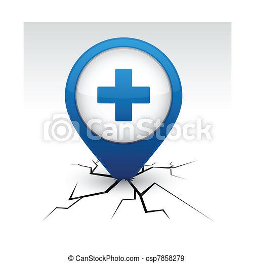 Plus blue icon in crack. - csp7858279