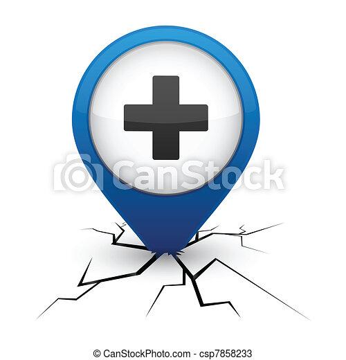 Plus blue icon in crack. - csp7858233