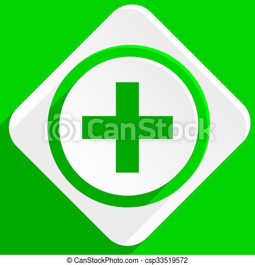plus green flat icon - csp33519572