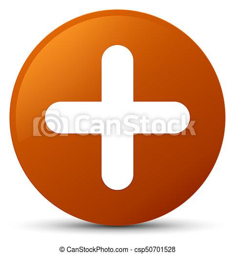 Plus icon brown round button - csp50701528