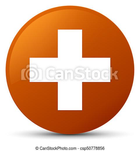 Plus icon brown round button - csp50778856