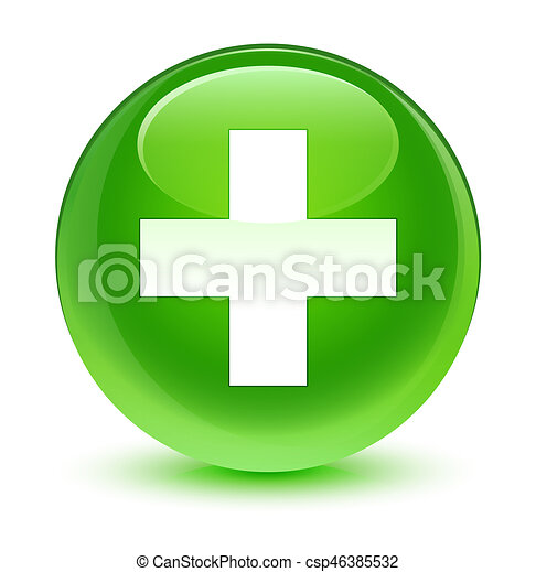 Plus icon glassy green round button - csp46385532