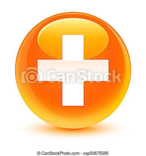 Plus icon glassy orange round button - csp50675595