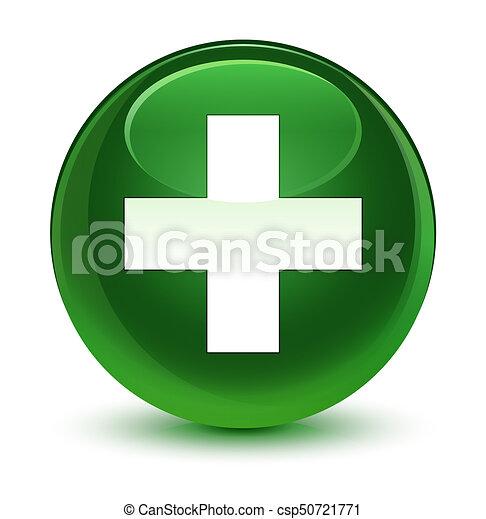 Plus icon glassy soft green round button - csp50721771