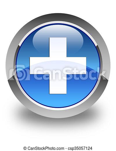 Plus icon glossy blue round button 2 - csp35057124