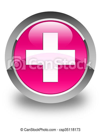 Plus icon glossy pink round button - csp35118173