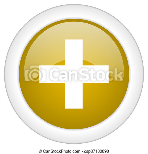 plus icon, golden round glossy button, web and mobile app design illustration - csp37100890