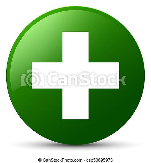 Plus icon green round button - csp50695973
