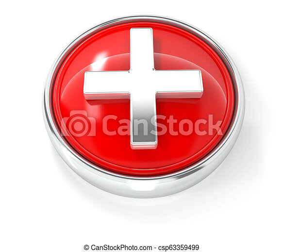Plus icon on glossy red round button - csp63359499