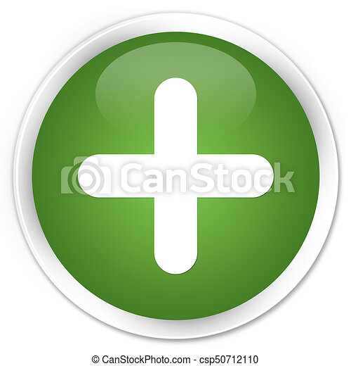 Plus icon premium soft green round button - csp50712110