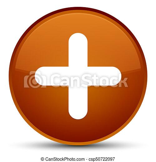 Plus icon special brown round button - csp50722097