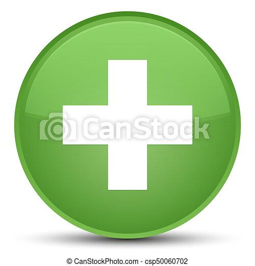Plus icon special soft green round button - csp50060702