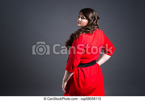 2ff5a70d025e Plus size fashion model in red dress