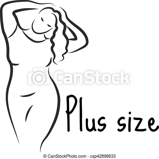 plus size model woman sketch hand drawing style fashion logo with