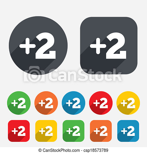 Plus Two Sign Add Two Symbol Two More Circles And Rounded Squares