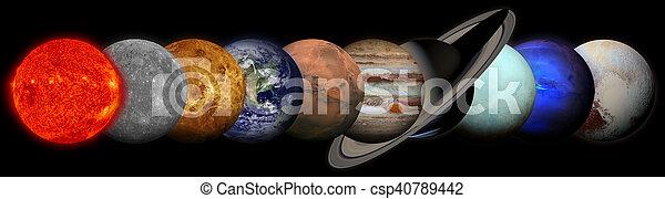 pluto., 지구, 태양, 수은, 목성, 해왕성, 토성, 천왕성, 비너스, 화성 - csp40789442