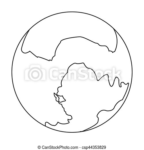 Pluto Icon In Outline Style Isolated On White Background Planets