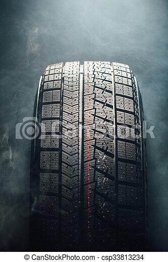 pneu, hiver, fumée - csp33813234