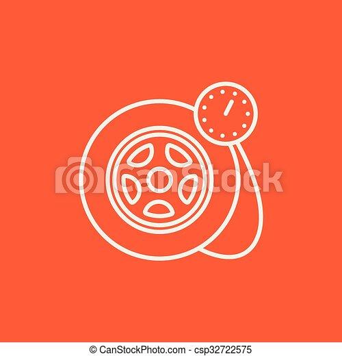 pneu, ligne, pression, icon., jauge - csp32722575