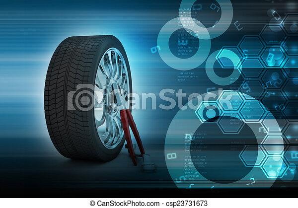 pneus, concept, 3d, remplacement - csp23731673