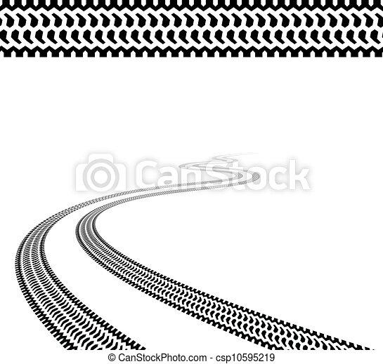 pneus, enroulement, vecteur, terrain, trace - csp10595219