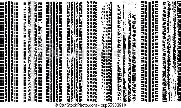 pneus, silhouette, trace, voie pneu, automobile, set., rubber., isolé, track., imprimer, piste, voiture., tracks., vector., grunge, route, noir - csp55303910