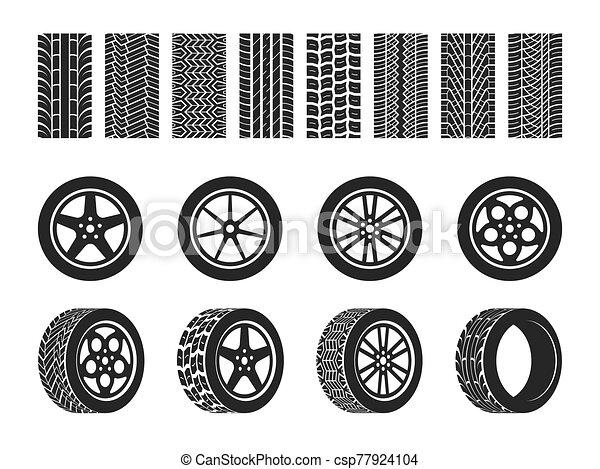 pneus, tires., vetorial, motocicleta, track., raça, automático, passo, motocross localizam, rastro, trilhas, rodas, isolado, veículo, ande bicicleta correr, roda, car, jogo, pneu, sujo, ou - csp77924104