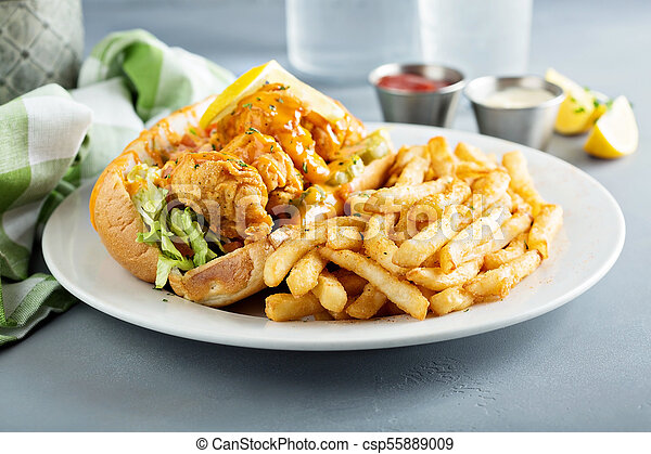 po, ragazzo, panino, gambero fritto - csp55889009