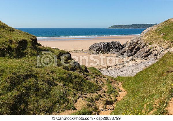 Pobbles beach Gower Peninsula Wales - csp28833799