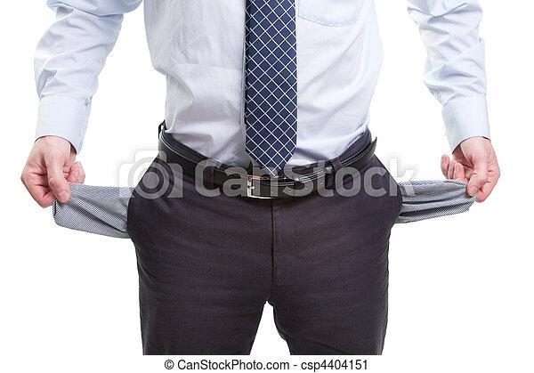 pobre, bolsos, negócio, quebrou, vazio, homem - csp4404151