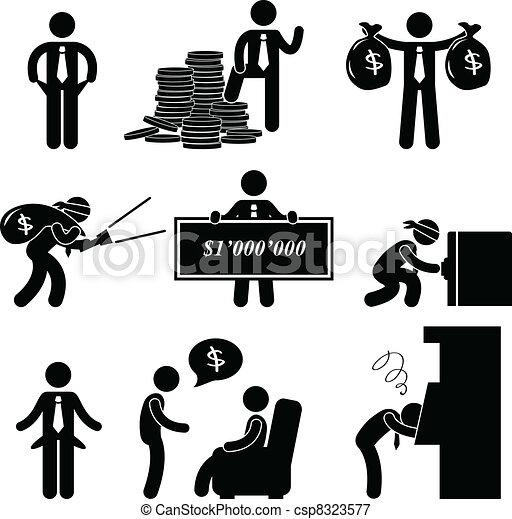 Ricos y pobres hombres pictograma - csp8323577