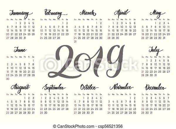 Calendrier De Poche 2019.Poche 2019 Calendrier Handdrawn Lettrage