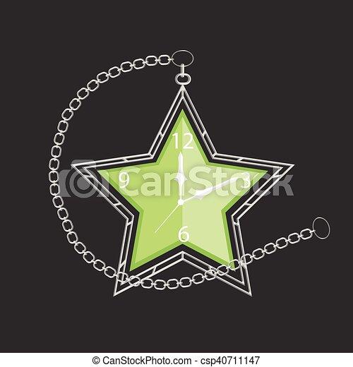 poche, forme, étoile, chaîne, horloge - csp40711147