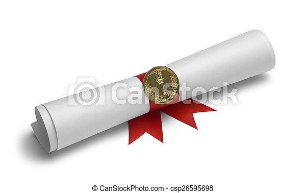 pochodnia, dyplom, woluta - csp26595698