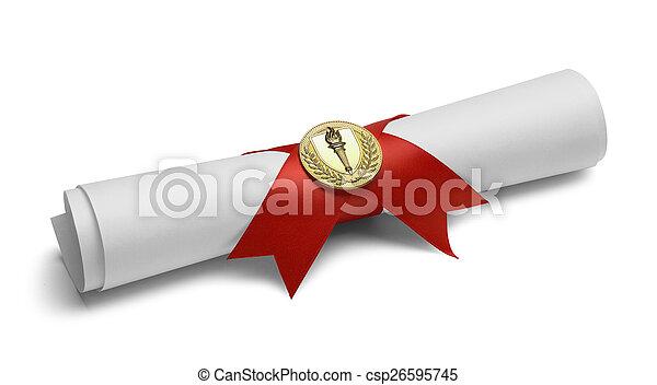 pochodnia, medal, dyplom - csp26595745