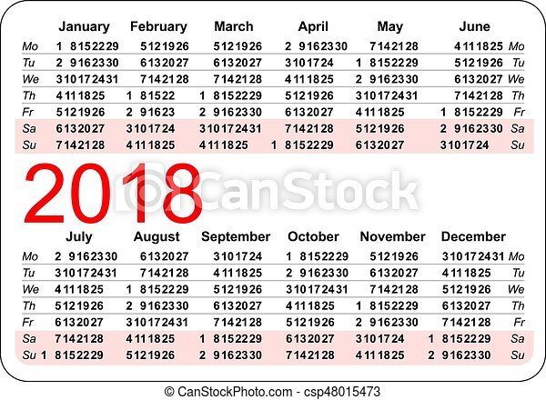 Pocket Calendar 2018 Grid Template Isolated On White Vector