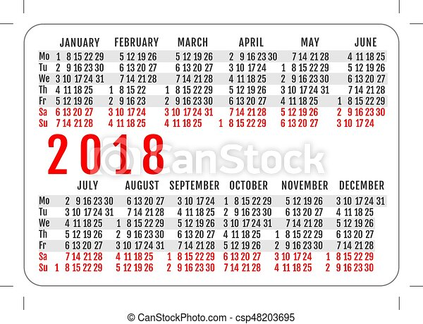 Pocket Calendar 2018 Year Grid Template Vector Illustration Eps